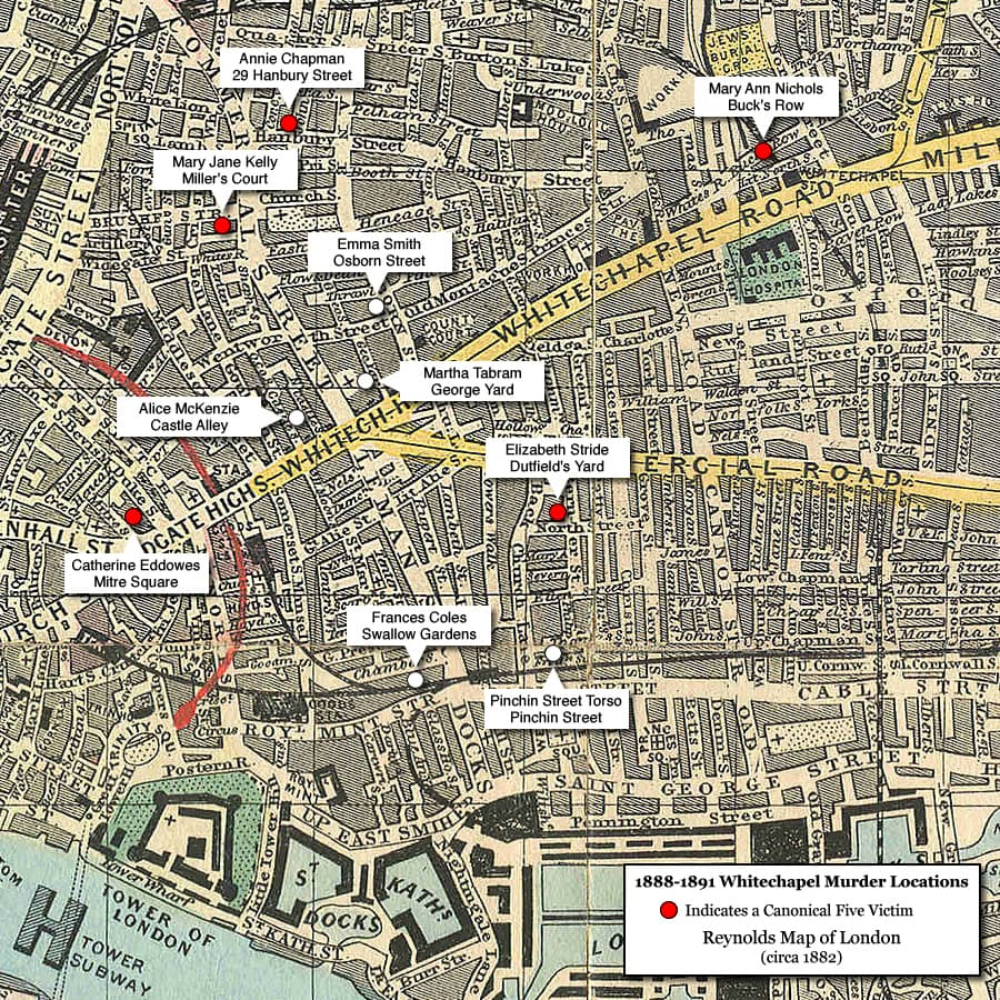 Map showing locations of Jack the Ripper murders
