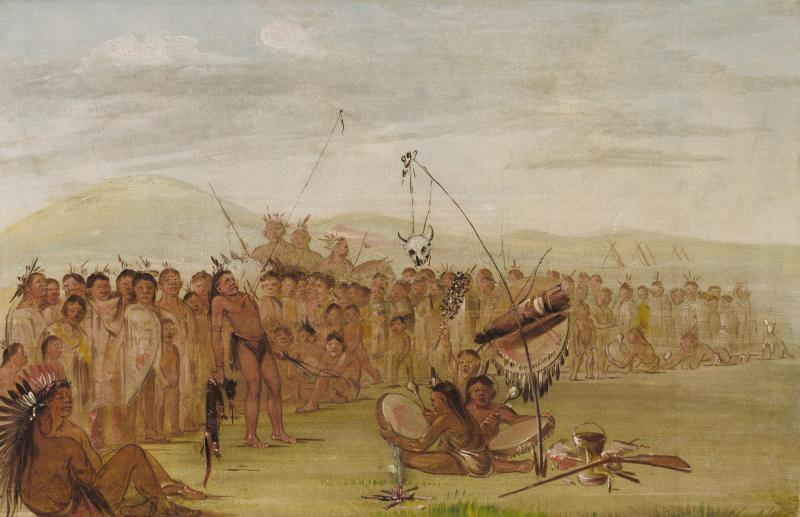 Painter George Catlin's depiction of the Sioux Sun Dance Ceremony