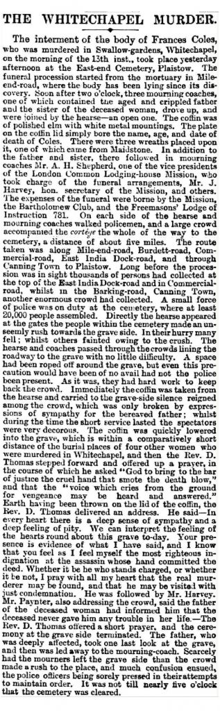 26 Feb 1891 - London Echo Article about Frances Coles' Funeral