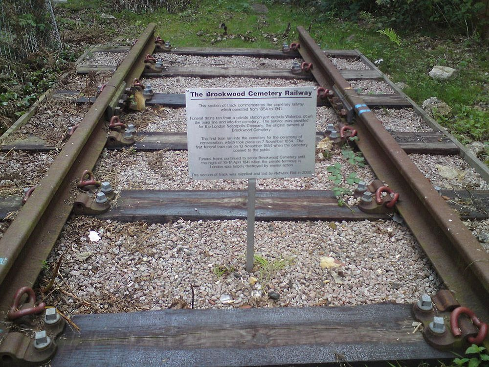 Historical piece of the London Necropolis Railway tracks at Brookwood Cemetery