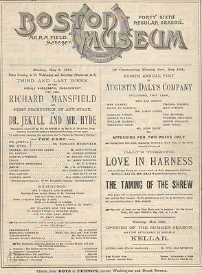 Original Boston Museum advertisement for the stage run of Dr Jekyll and Mr Hyde