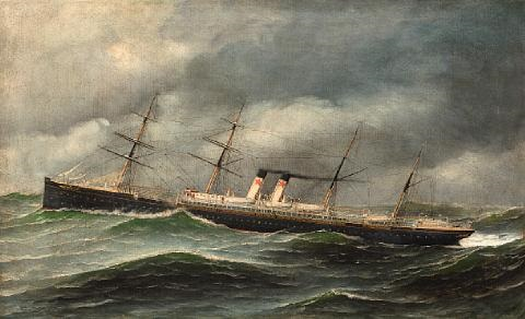 SS Westernland on the stormy sea