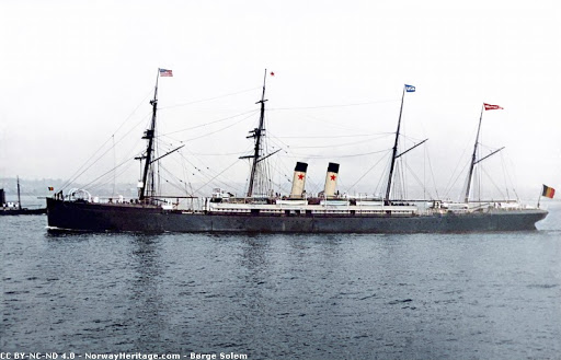 SS Westernland on the sea. Colorized photo.