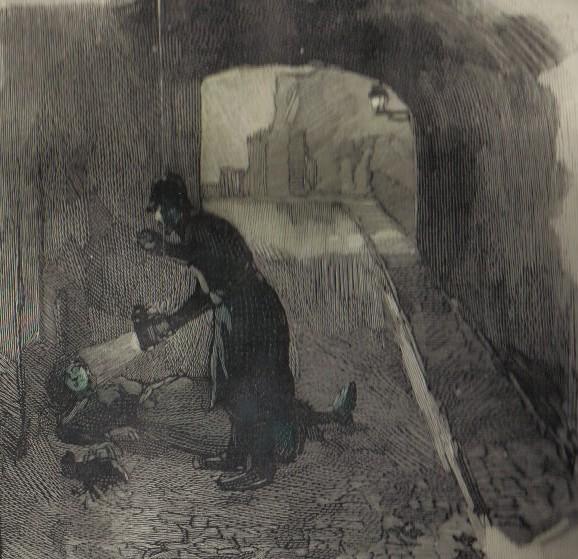 Illustration of the murder scene in Swallow Gardens