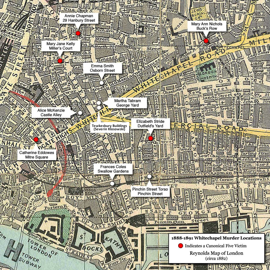Map of murder locations in Whitechapel