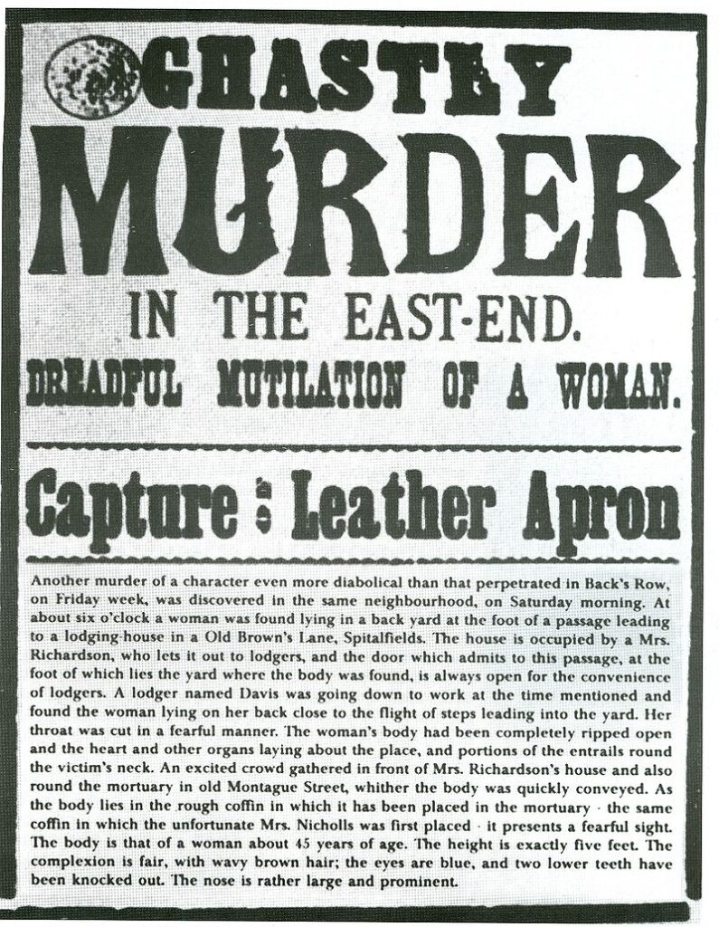 Example of a wanted poster for the Leather Apron