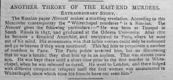 Newspaper article from 1888 that introduces the Russian doctor theory
