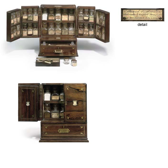 Original chemist's cabinet made by the Macord and Hora (Winfield Hora) company. The inscription reads: Macord & Hora Wholesale and Export Druggists, 58 Minories, London