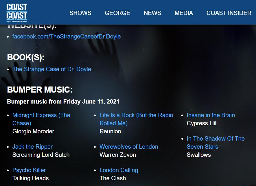 Bumper music for the 6-11-21 Coast to Coast radio show